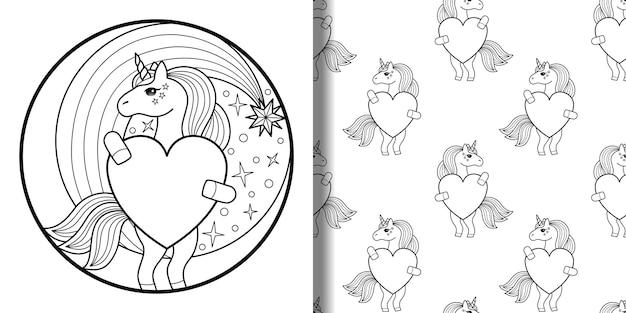 Stampa di contorno di unicorno e motivo senza cuciture sfondi da favola di animali per stampe di magliette tessili