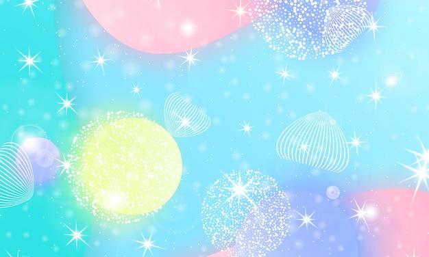 Modello di unicorno. sirena arcobaleno. universo di fantasia. sfondo di fata. stelle magiche olografiche. design minimale. colori sfumati alla moda. forme fluide. illustrazione vettoriale.