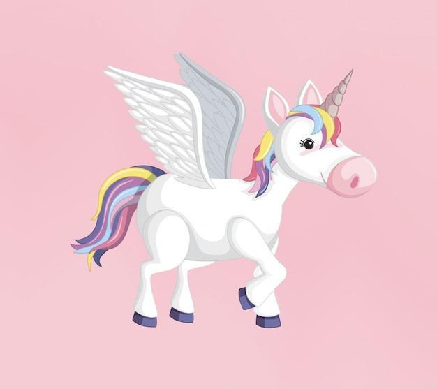 Unicorno o pegasus con criniera arcobaleno e corno isolato su sfondo rosa