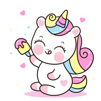 Principessa unicorno con gelato kawaii animale