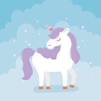 Unicorno capelli viola arcobaleno corno fantasia magia sogno simpatico cartone animato sfondo blu illustrazione