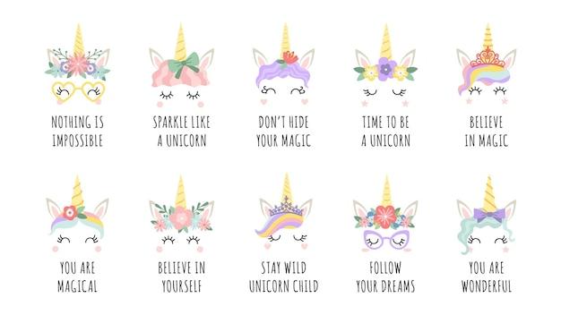 Citazioni di unicorno. cavallo fatato magico con facce di corno e frase motivazionale. la stampa della ragazza con lo slogan segue i tuoi sogni e crede nel set vettoriale. credi in te stesso, magia. cura le creature con i fiori