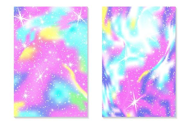 Sfondo arcobaleno unicorno. cielo olografico in colori pastello. motivo a sirena con ologramma luminoso nei colori della principessa. illustrazione vettoriale. unicorno fantasia gradiente arcobaleno colorato sullo sfondo.