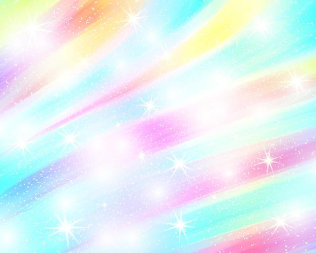 Sfondo arcobaleno unicorno. cielo olografico in colori pastello. motivo a sirena luminoso nei colori della principessa. illustrazione vettoriale. sfondo colorato sfumato fantasia con maglia arcobaleno.