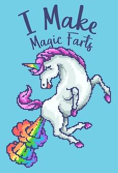 Unicorno arcobaleno pixel art retrò
