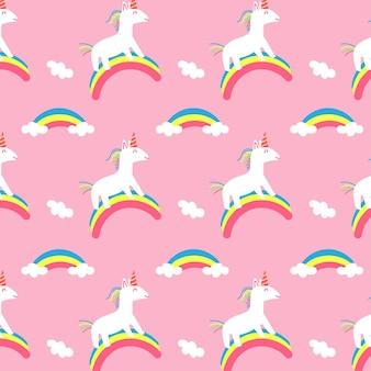 Modello senza cuciture arcobaleno unicorno