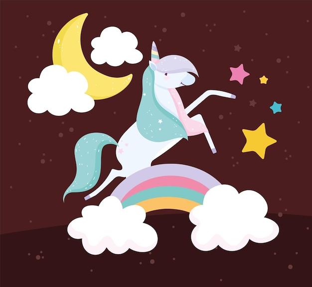 Unicorno su arcobaleno