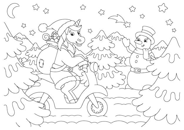 L'unicorno cavalca un motorino e porta regali pagina del libro da colorare per bambini tema natalizio
