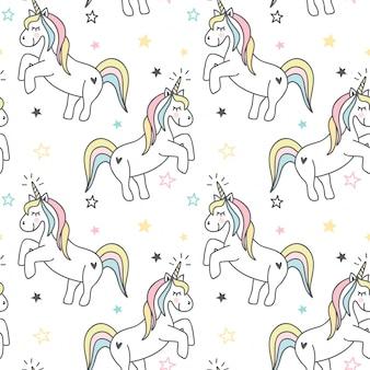 Disegno del modello senza cuciture di unicorno