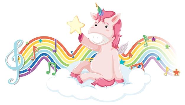 Unicorno seduto sulla nuvola con simboli di melodia sull'onda arcobaleno