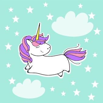 Unicorno nel cielo carino illustrazione vettoriale. disegno di carte e magliette.