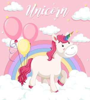 Stand di unicorno sulla nuvola con arcobaleno pastello su sfondo rosa cielo