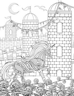 Unicorno in piedi che cammina attraverso i campi del castello con alte torri con una linea incolore a mezzaluna