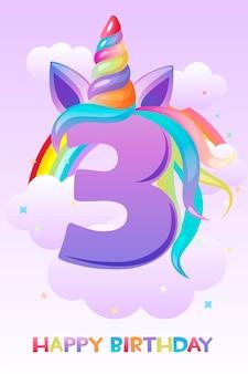 Unicorno di tre anni, biglietto di auguri di buon compleanno