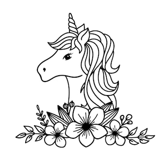 Illustrazione di vettore di linea di disegno di contorno del fiore dell'unicorno dell'unicorno