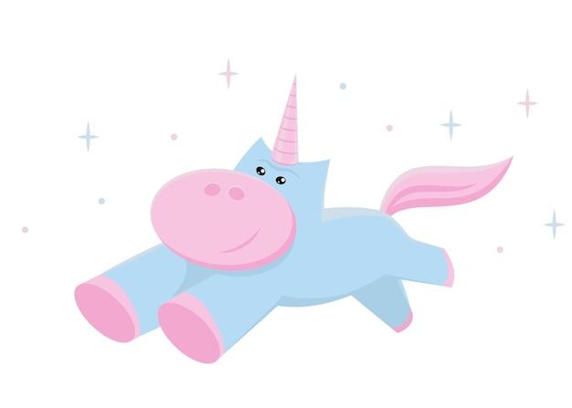 Vettore di unicorno. illustrazione carina per la stampa. design piatto.
