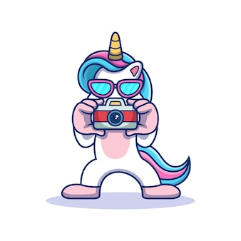Unicorno con fotocamera. illustrazione dell'icona di vettore animale