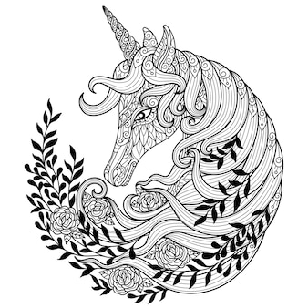 Unicorno con fiore. illustrazione di schizzo disegnato a mano per libro da colorare per adulti