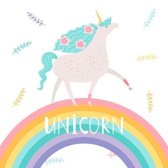 Unicorno con fiori e arcobaleno