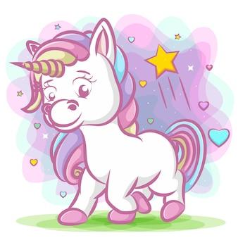 Unicorno con corno verde e capelli arcobaleno