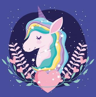 Unicorno con cuore e foglief