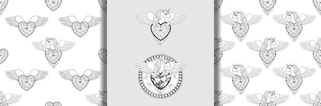 Unicorno con stampe di cuore e ali e set di motivi senza cuciture