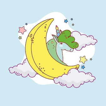 Unicorno con luna