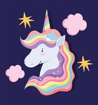 Unicorno con capelli arcobaleno, nuvole e stelle