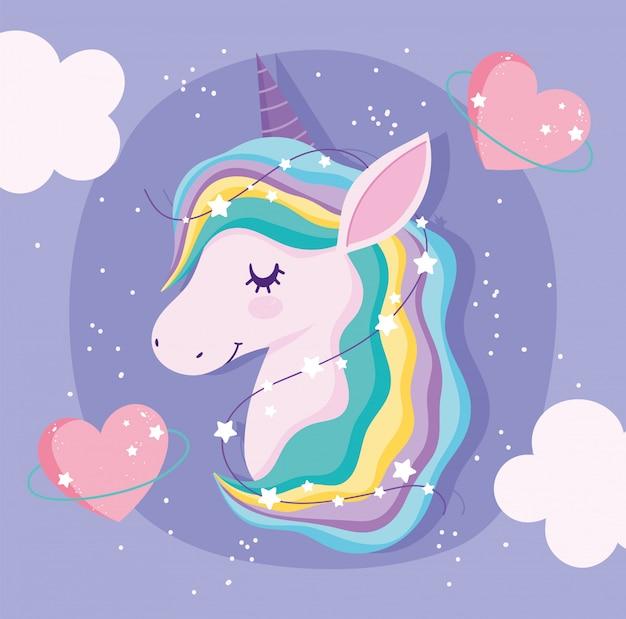 Unicorno con capelli e cuori arcobaleno