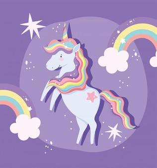 Unicorno con capelli arcobaleno e arcobaleni