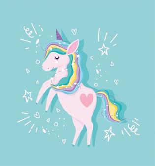 Unicorno con capelli arcobaleno e stelle