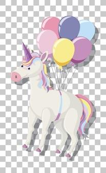 Unicorno con criniera arcobaleno e palloncini isolati su sfondo trasparente
