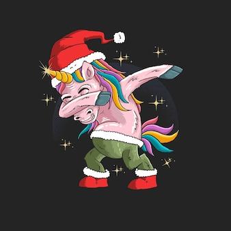 Unicorno con illustrazione del cappello di babbo natale