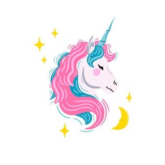 Unicorno con stelle e luna illustrazione vettoriale con testa di unicorno con capelli rosa e blu