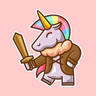 Unicorno con illustrazione di spada di legno