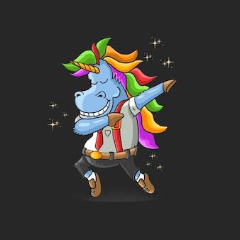 Illustrazione di danza tamponando operaio unicorno
