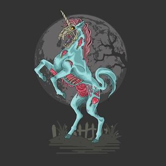Illustrazione di incubo zombie unicorno