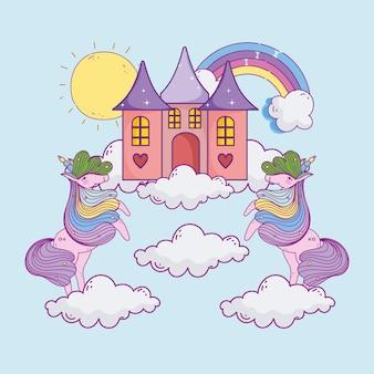Arcobaleno del castello di unicorni