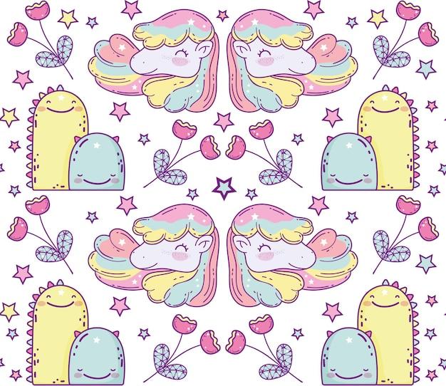 Set di cartoni animati di unicorni e mostri, fantasia magica da favola animale fata selvaggia selvaggia e adorabile