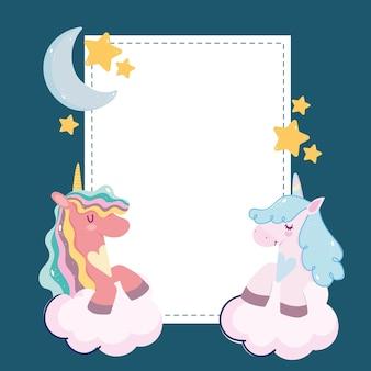 Fumetto di unicorni luna stelle