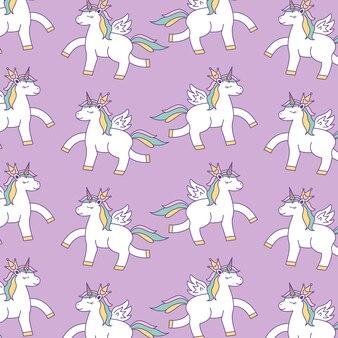 Sfondo di modelli di unicorni con arcobaleno. illustrazione vettoriale