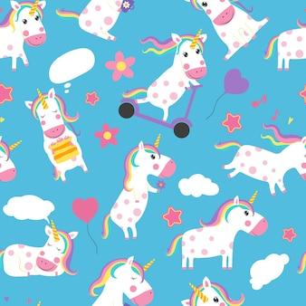 Modello senza cuciture di unicorni. vari simboli da favola con unicorni simpatico cartone animato.
