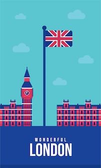 Illustrazione di union jack flat poster