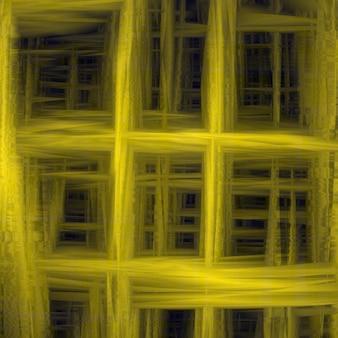 Fondo astratto unico di giallo della maglia. progettazione della rifrazione e dell'interferenza della luce. un trabocco di colori. effetto glitch. infinito. illustrazione vettoriale.