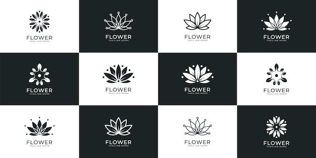 Modello di logo di fiori di lusso unico e bellissimo per resort hotel spa