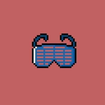 Occhiali blu unici con stile pixel art
