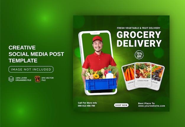 Modello di post sui social media per la promozione della consegna di generi alimentari di frutta e verdura fresca concetto unico