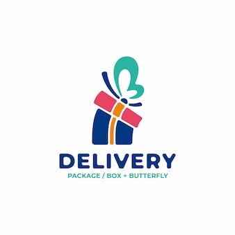 Logo di consegna unico con concetto di pacchetto e ali di farfalla
