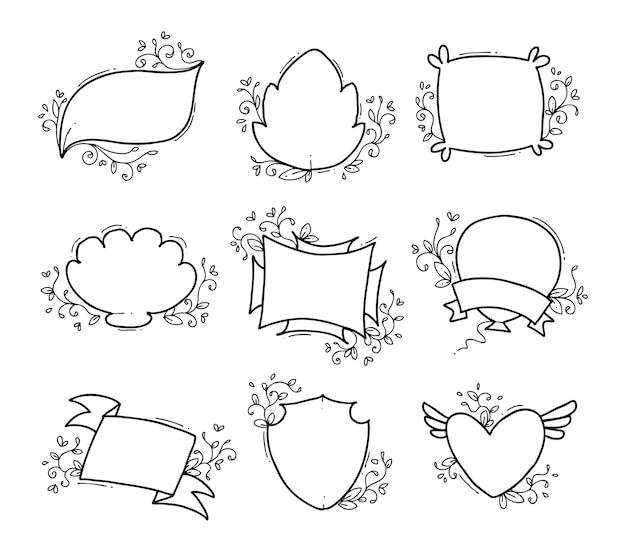 Disegnata a mano unica cornice floreale