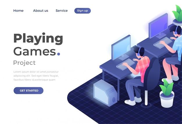 Concetto di design piatto moderno unico di gioco per sito web e sito web mobile